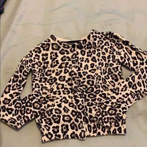 Girls button up cardigan size 7/8 leopard print